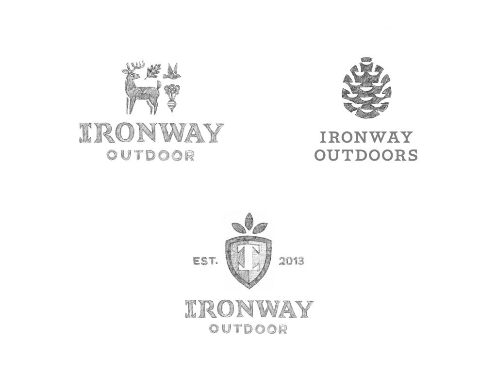 Three logo sketches, shown-head-on, on a white background.